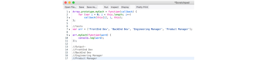 forEach code