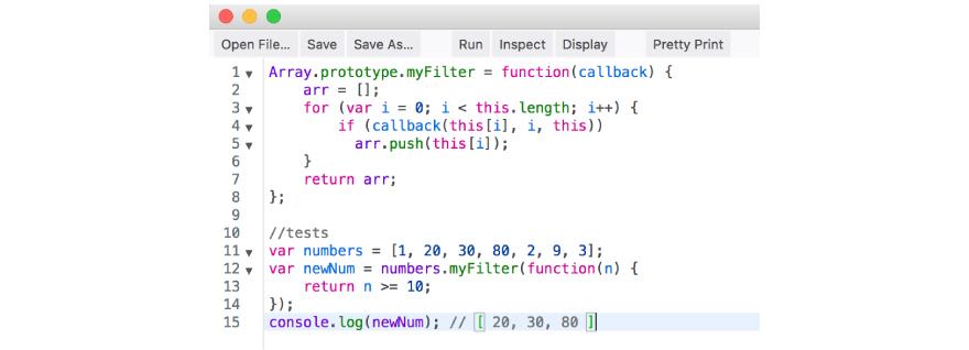 filter code