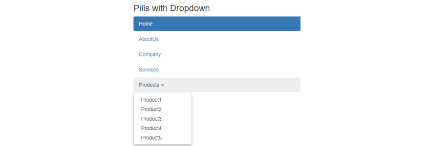 Pills with dropdown