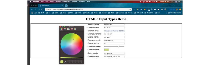 HTML5 input type demo