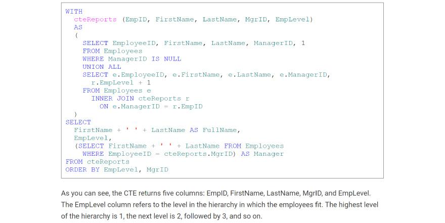 Recursive CTE code