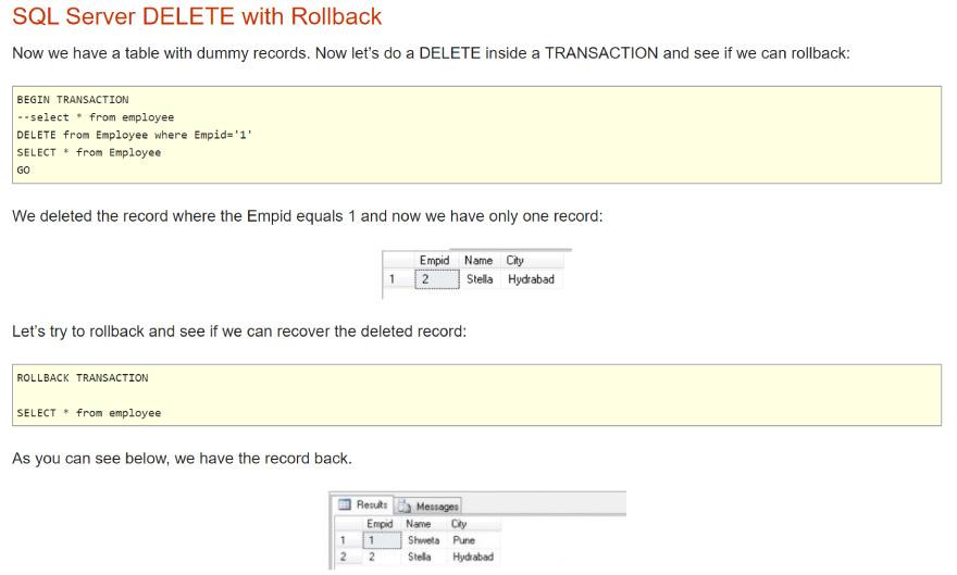 SQL Server delete with rollback