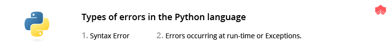 Type of errors in the python language