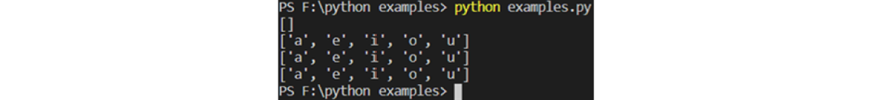 list() example