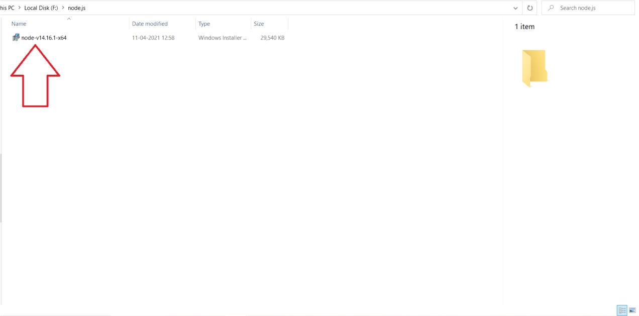 Download node.js installer into your system
