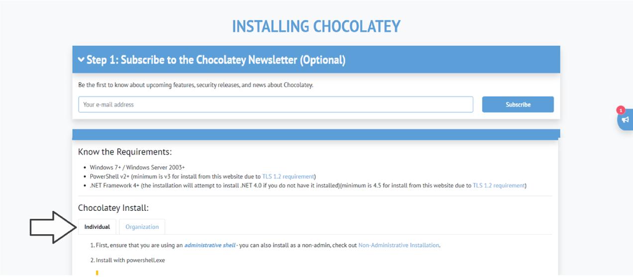 Installing Chocolatey.